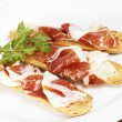 Slices of spanish ham — Stok fotoğraf