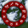 Astrological signs on abstract sky - 图库照片