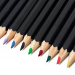 Colored school pencils stacked - Stock Photo