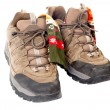 Used hiking boots and socks - Stock Photo