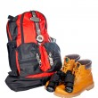 Mountain adventure kit - Stock Photo