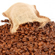 Burlap sack and coffee beans — Stock Photo