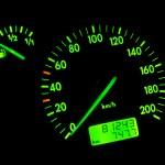 Green neon speedometer — Stock Photo