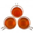 Three glass cups of tea — Stock Photo