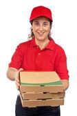 Pizza levering vrouw — Stockfoto
