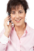 Smiling woman talking with phone — Stock Photo