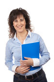 Casual woman with notebook — Stock Photo