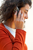Woman talking with phone — Stock Photo