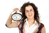 Holding a clock — Stock Photo