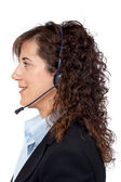 Smiling customer support girl — Stock Photo