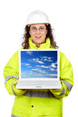 Showing a laptop — Stock Photo