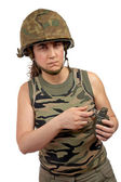 Holding a hand grenade — Stock Photo