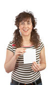 Woman holding one blank card — Stock Photo