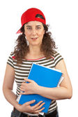 Student woman with red cap — Stock Photo
