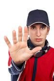 Serious disc jockey saying stop — Stock Photo