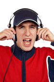 Disc jockey shouting — Stock Photo