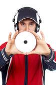Disc Jockey holding a compact disc — Stock Photo