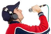Disc jockey singing — Stock Photo