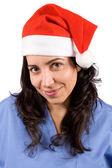 Kvinnliga läkare med jul hatt — Stockfoto