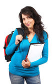 Young student woman with backpack — Stock Photo