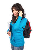 Student woman talking with phone — Stock Photo