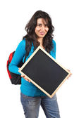 Holding the chalkboard — Stock Photo