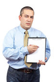 Businessman with clipboard — Stok fotoğraf