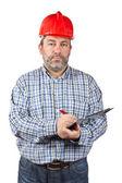 Trabajador de la construcción de la escritura — Foto de Stock