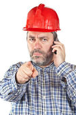 Angered construction worker — Stock Photo