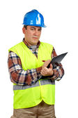 Construction worker writing — Stock Photo
