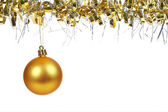 Golden Christmas ball dangling — Stock Photo