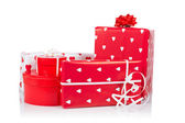 Assortment of red gift boxes — Stock Photo