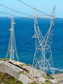 Two High voltage towers — Stock Photo