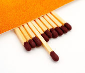 One match stick spent among match sticks — Stock Photo