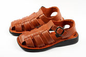 Brown leather sandals — Stock Photo