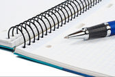 Detal długopis i notatnik pusty arkusz — Zdjęcie stockowe