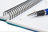 Detalle de la pluma y hoja de cuaderno en blanco — Foto de Stock