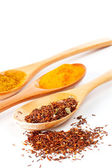 Detail of spices in the spoons — Stock Photo