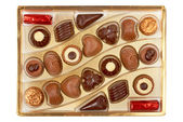 Chocolates in a box — Stock Photo
