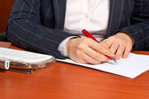 Writing a contract — Stock Photo