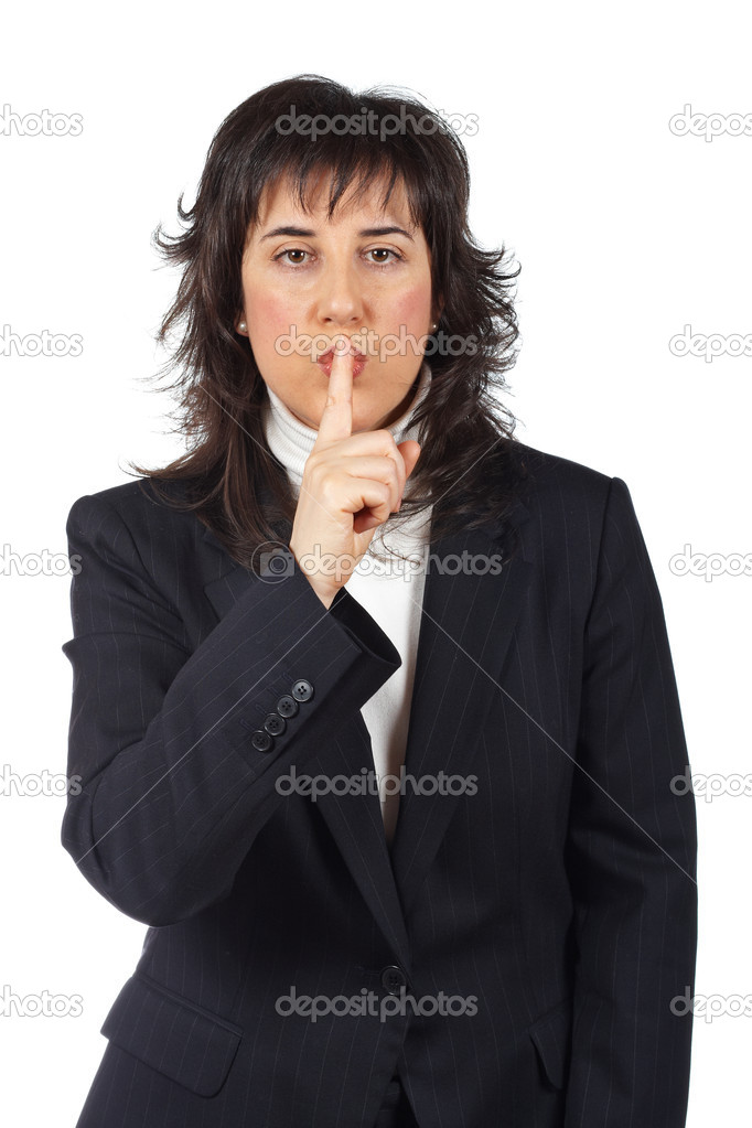 Business woman making a gesture to be quiet — Stock Photo #5880480