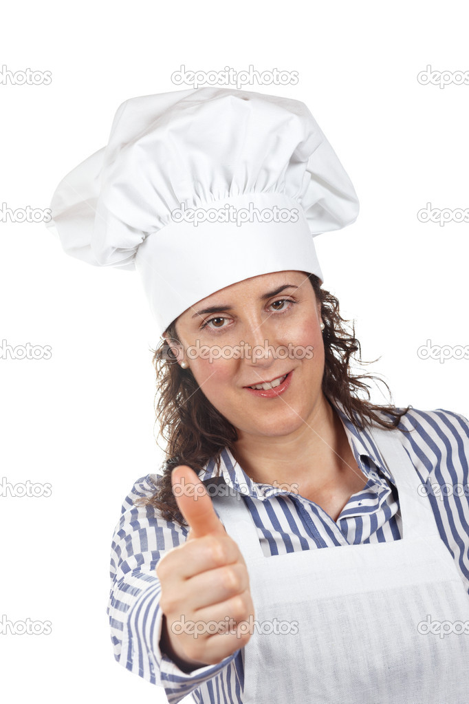 Attractive cook woman isolated on white background — Stock Photo #5880578