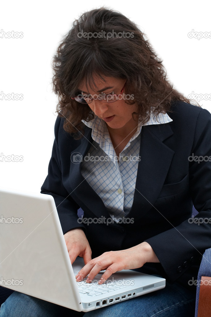 Business woman writing on laptop — Stock Photo #5880610