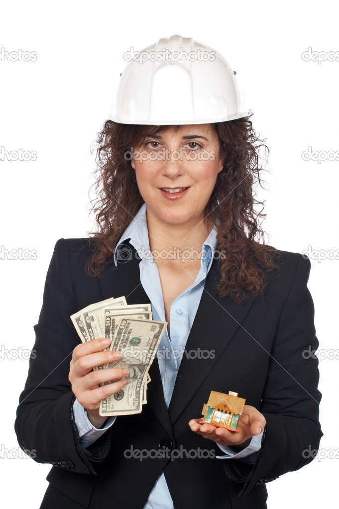 Female architect holding the money and showing the house, over a white background — Stock Photo #5880776