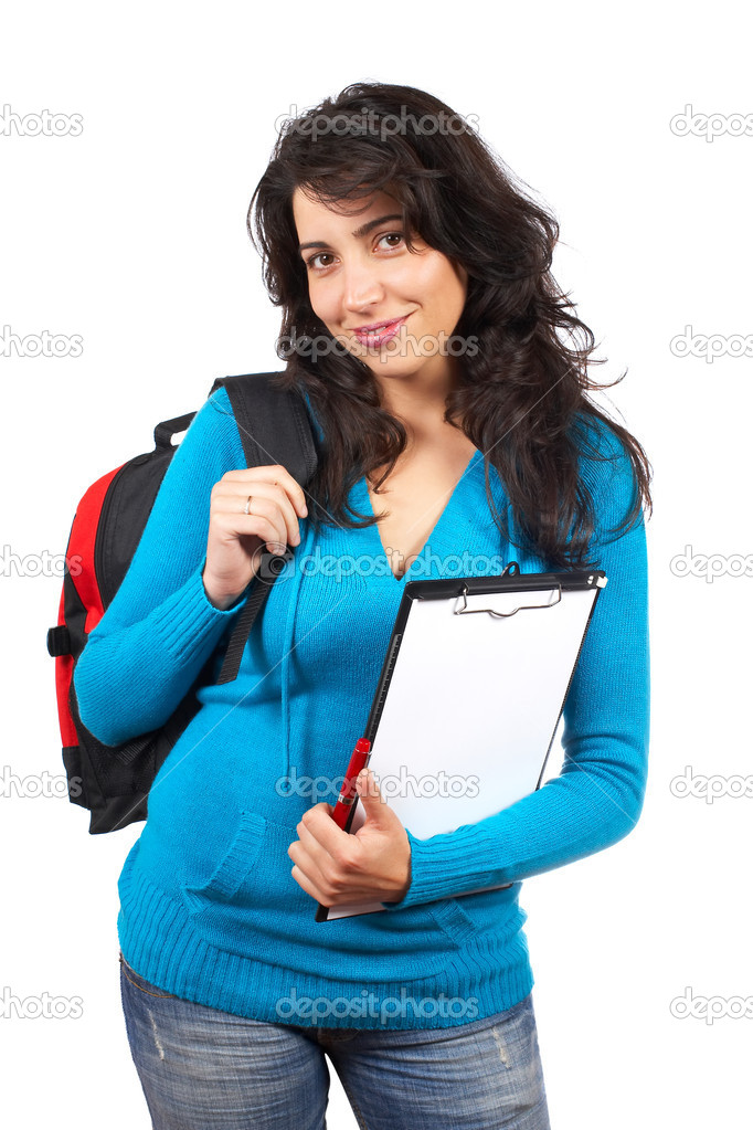 Young student woman with a black backpack on white background  Stock Photo #5881193