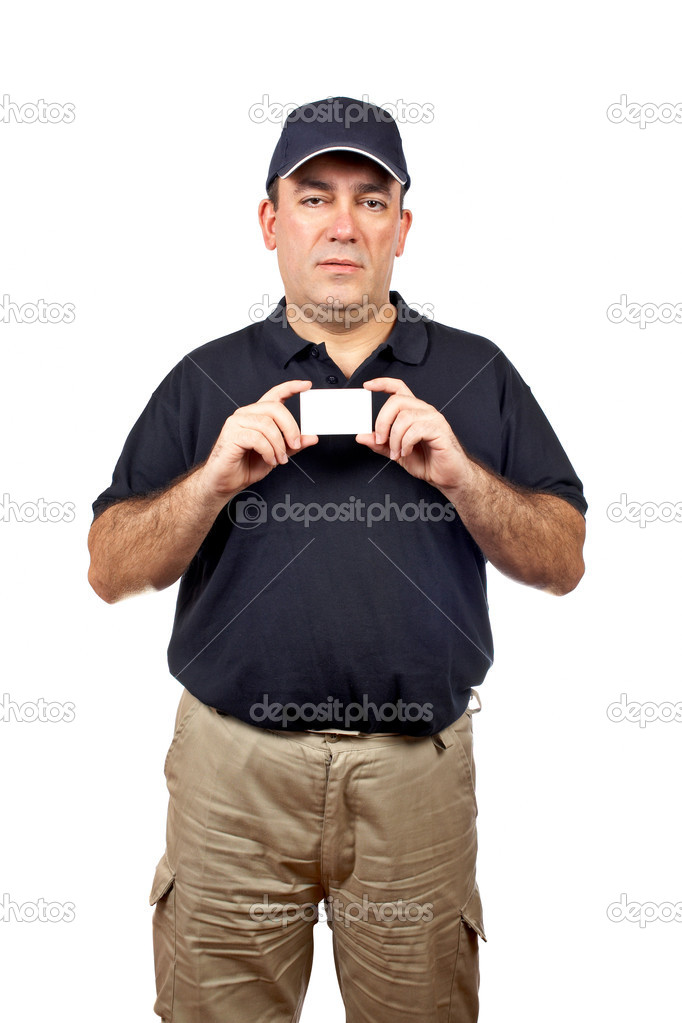 A courier handing a blank card over a white background — Stock Photo #5881477