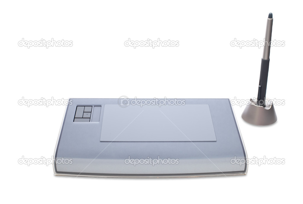 A graphic tablet with pen isolated on white background — Stock Photo #5881668