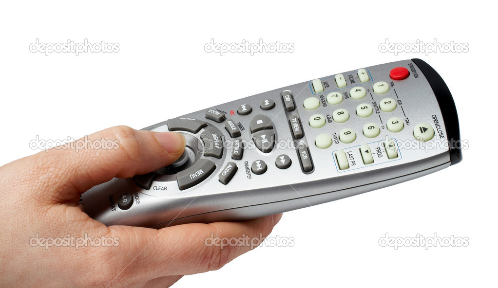 Holding a remote with path clipping — Stock Photo #5882566