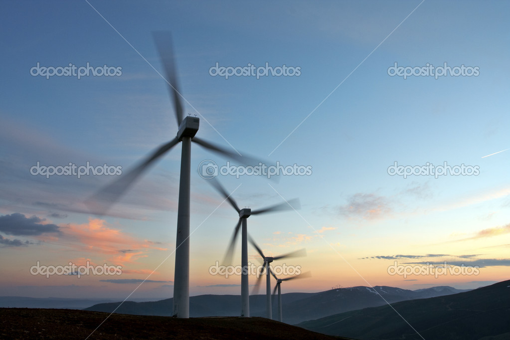 Wind turbine farm turning (movement sensation)  Stock Photo #5882615