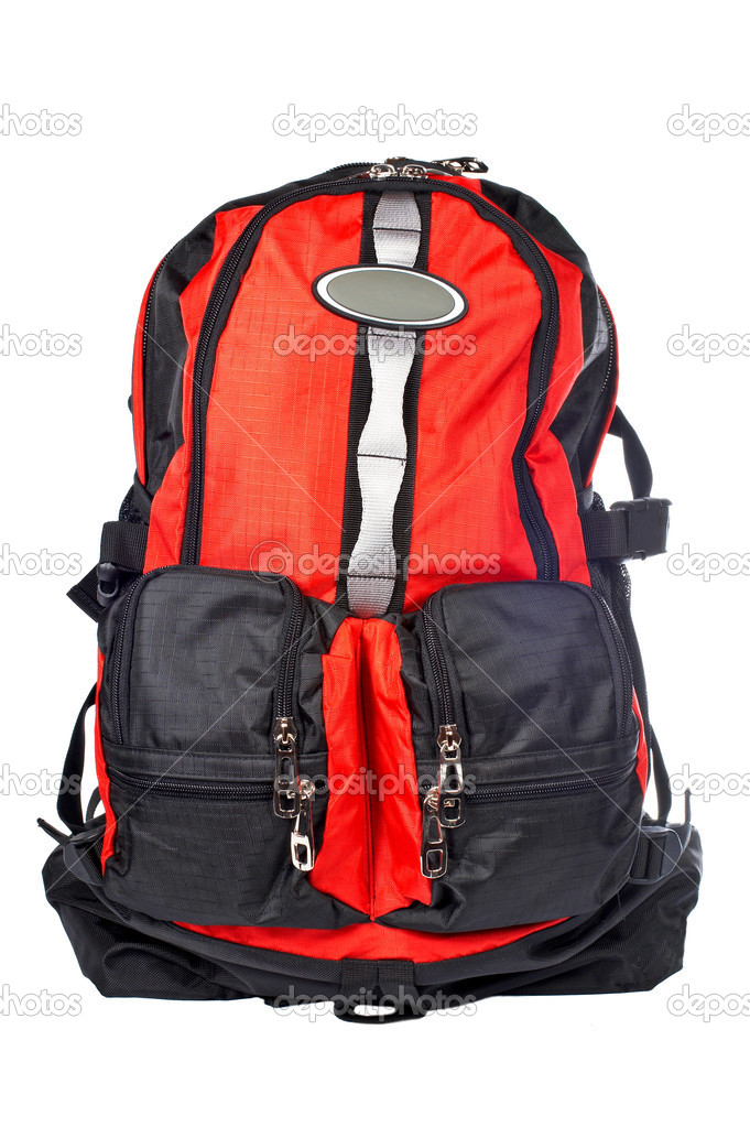 A black and red backpack over a white background — Stock Photo #5883346